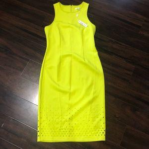 Spense chartreuse sleeveless dress square cutouts